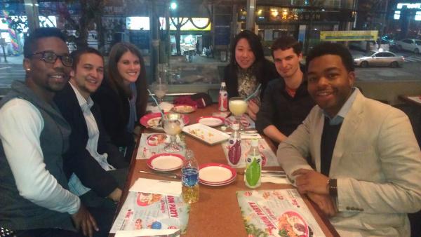 Enjoying our New Year's Dinner in Seoul