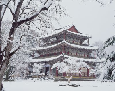 Korean temple in winter