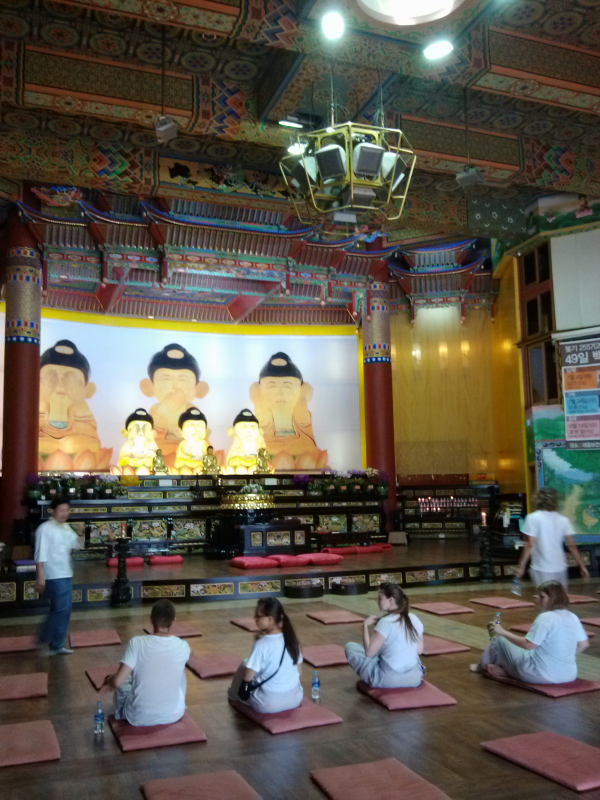 Inside the main hall of the Hongbeopsa Temple