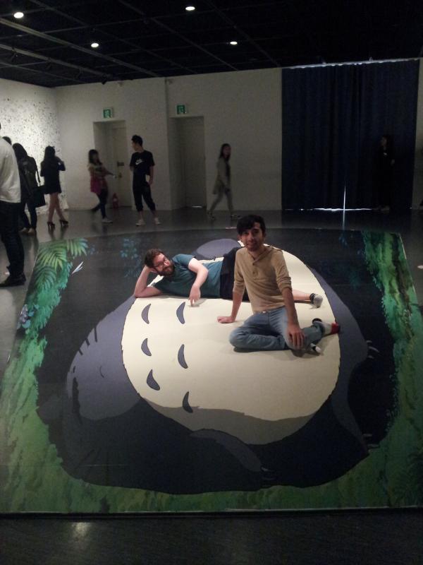Reynaldo and I sitting on Totoro