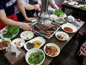 Do Korean BBQ while teaching English in Korea